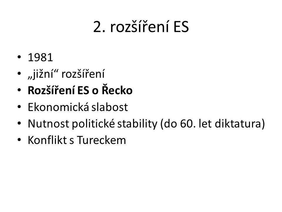 "2. rozšíření ES 1981 ""jižní"" rozšíření Rozšíření ES o Řecko Ekonomická slabost Nutnost politické stability (do 60. let diktatura) Konflikt s Tureckem"
