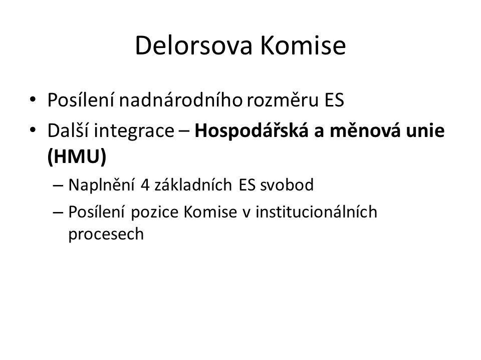 Delorsova Komise Posílení nadnárodního rozměru ES Další integrace – Hospodářská a měnová unie (HMU) – Naplnění 4 základních ES svobod – Posílení pozic