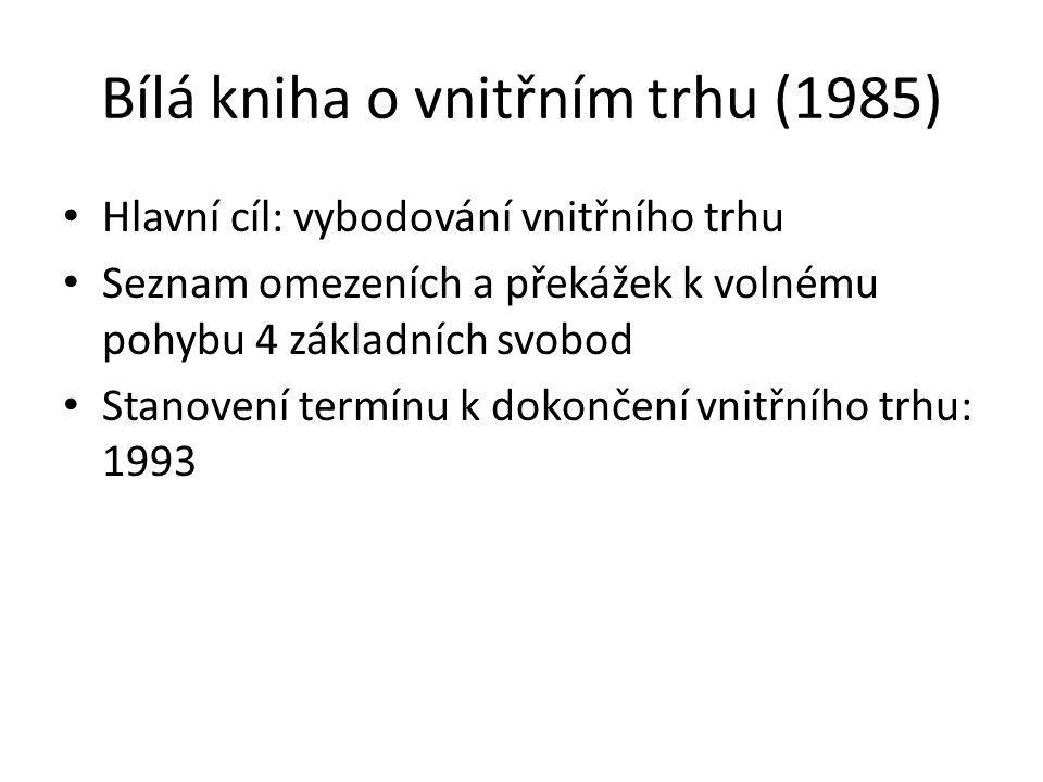 Bílá kniha o vnitřním trhu (1985) Hlavní cíl: vybodování vnitřního trhu Seznam omezeních a překážek k volnému pohybu 4 základních svobod Stanovení ter