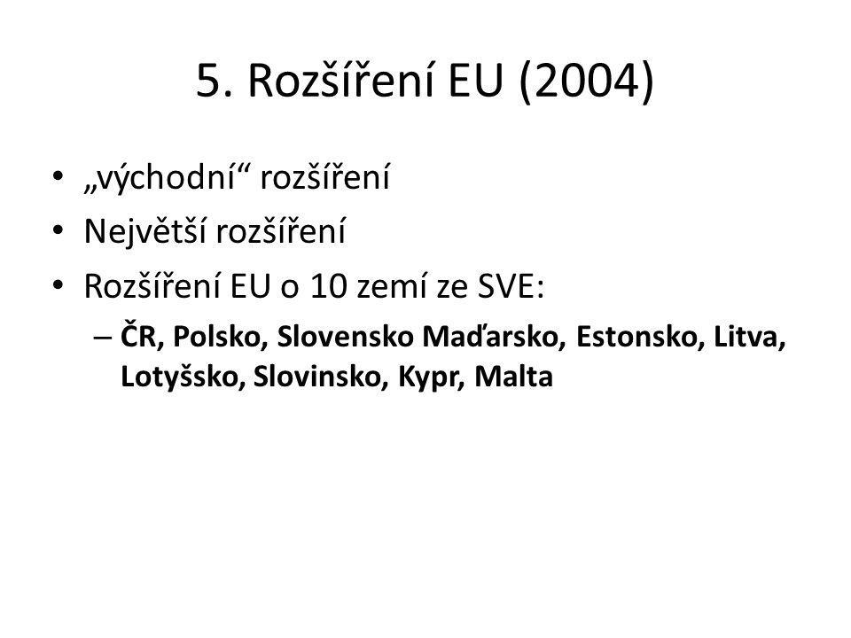 """5. Rozšíření EU (2004) """"východní"""" rozšíření Největší rozšíření Rozšíření EU o 10 zemí ze SVE: – ČR, Polsko, Slovensko Maďarsko, Estonsko, Litva, Lotyš"""