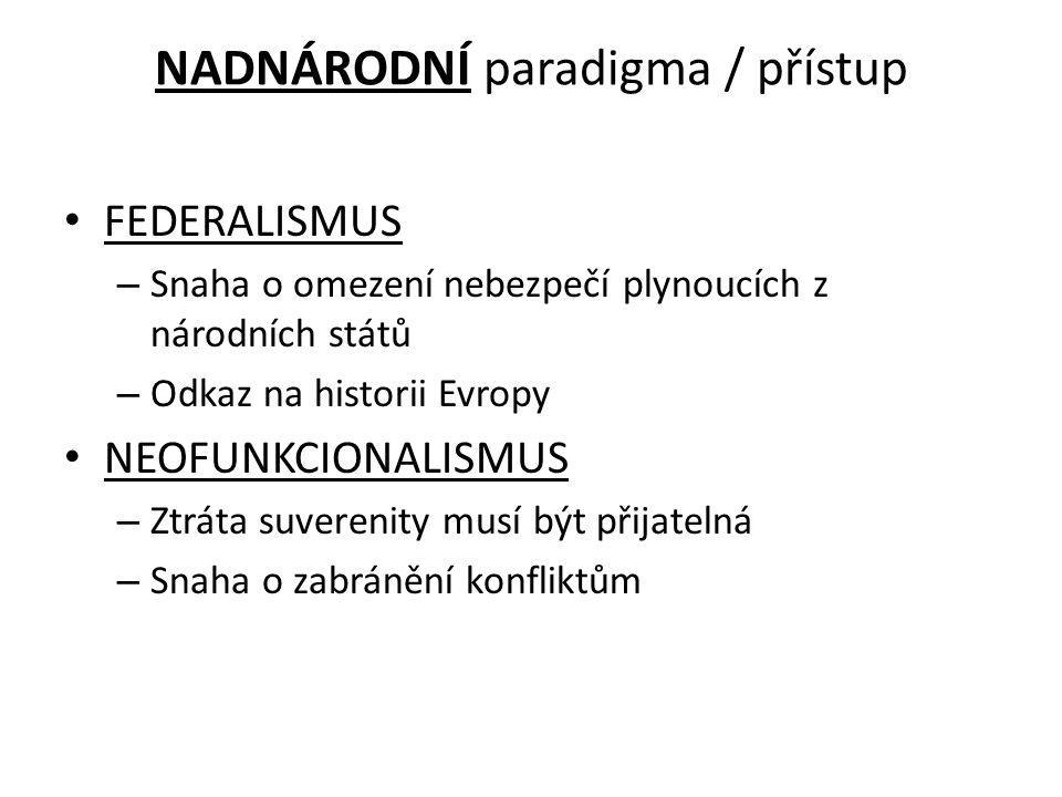 NADNÁRODNÍ paradigma / přístup FEDERALISMUS – Snaha o omezení nebezpečí plynoucích z národních států – Odkaz na historii Evropy NEOFUNKCIONALISMUS – Z