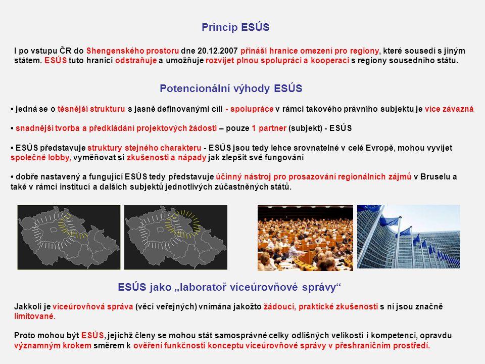 Princip ESÚS I po vstupu ČR do Shengenského prostoru dne 20.12.2007 přináší hranice omezení pro regiony, které sousedí s jiným státem. ESÚS tuto hrani