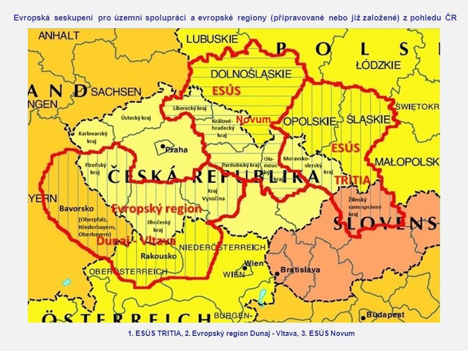 Evropská seskupení pro územní spolupráci a evropské regiony (připravované nebo již založené) z pohledu ČR 1. ESÚS TRITIA, 2. Evropský region Dunaj - V