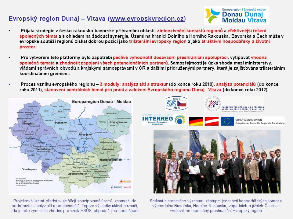 Evropský region Dunaj – Vltava (www.evropskyregion.cz) Přijatá strategie v česko-rakousko-bavorské příhraniční oblasti: zintenzivnění kontaktů regionů a efektivnější řešení společných témat a s ohledem na žádoucí synergie.