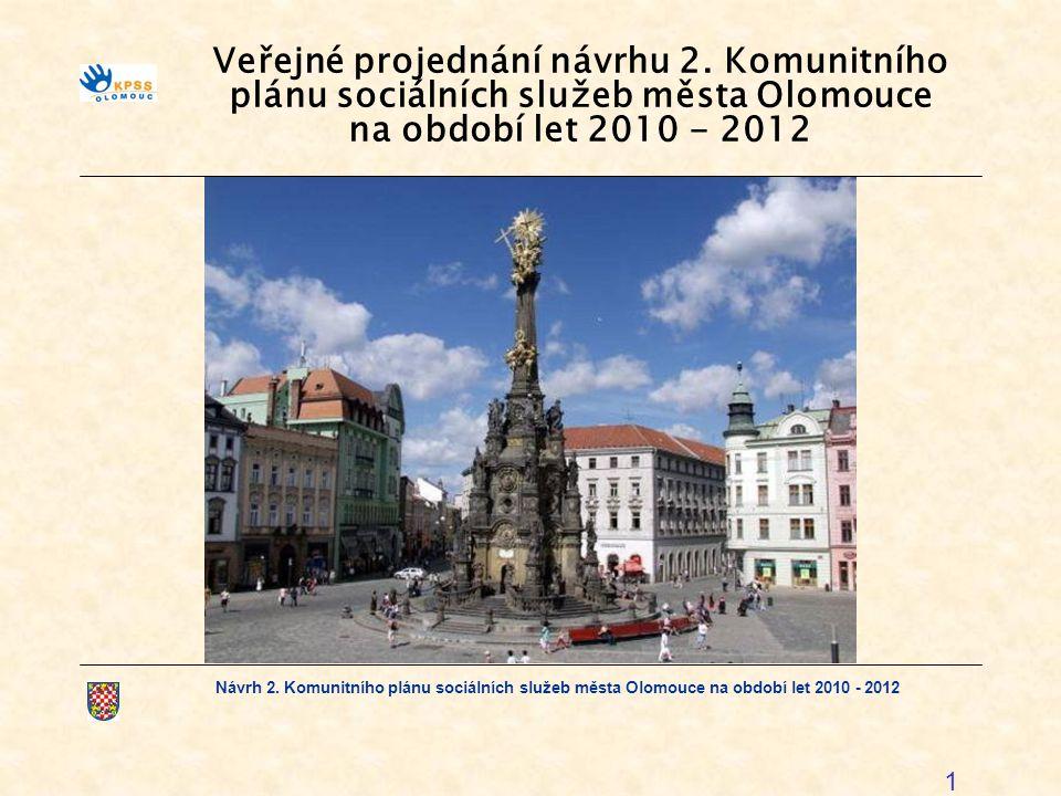 Návrh 2. Komunitního plánu sociálních služeb města Olomouce na období let 2010 - 2012 1 Veřejné projednání návrhu 2. Komunitního plánu sociálních služ