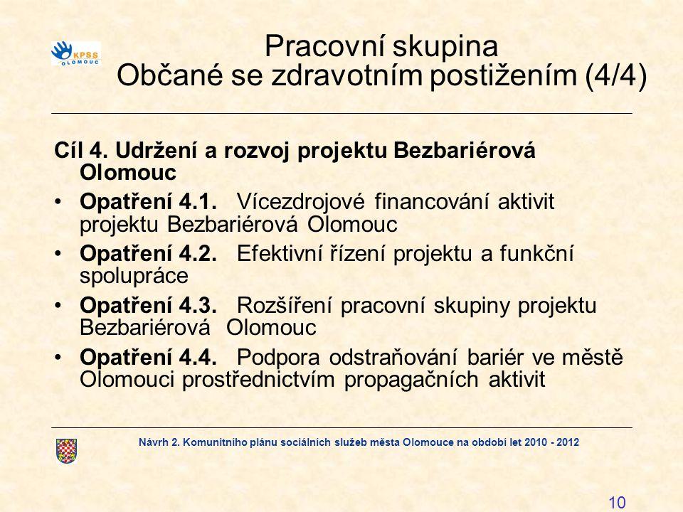 Návrh 2. Komunitního plánu sociálních služeb města Olomouce na období let 2010 - 2012 10 Pracovní skupina Občané se zdravotním postižením (4/4) Cíl 4.