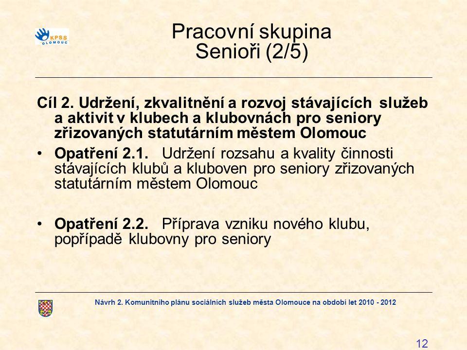 Návrh 2. Komunitního plánu sociálních služeb města Olomouce na období let 2010 - 2012 12 Pracovní skupina Senioři (2/5) Cíl 2. Udržení, zkvalitnění a