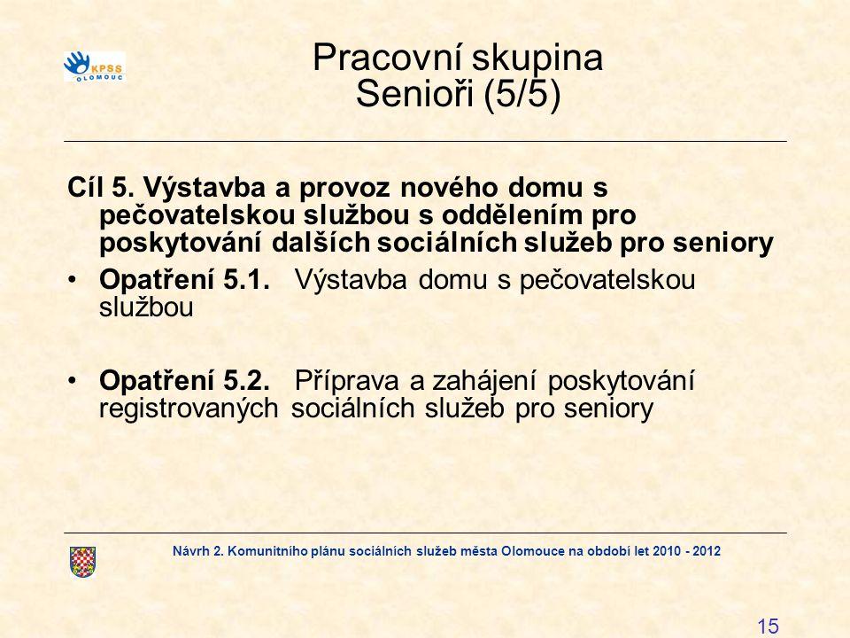 Návrh 2. Komunitního plánu sociálních služeb města Olomouce na období let 2010 - 2012 15 Pracovní skupina Senioři (5/5) Cíl 5. Výstavba a provoz novéh