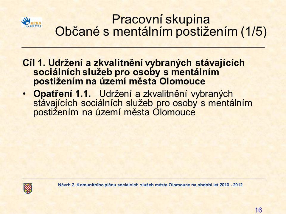 Návrh 2. Komunitního plánu sociálních služeb města Olomouce na období let 2010 - 2012 16 Pracovní skupina Občané s mentálním postižením (1/5) Cíl 1. U