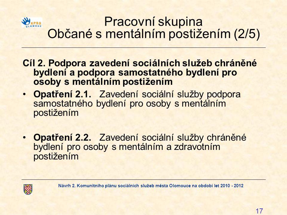 Návrh 2. Komunitního plánu sociálních služeb města Olomouce na období let 2010 - 2012 17 Pracovní skupina Občané s mentálním postižením (2/5) Cíl 2. P
