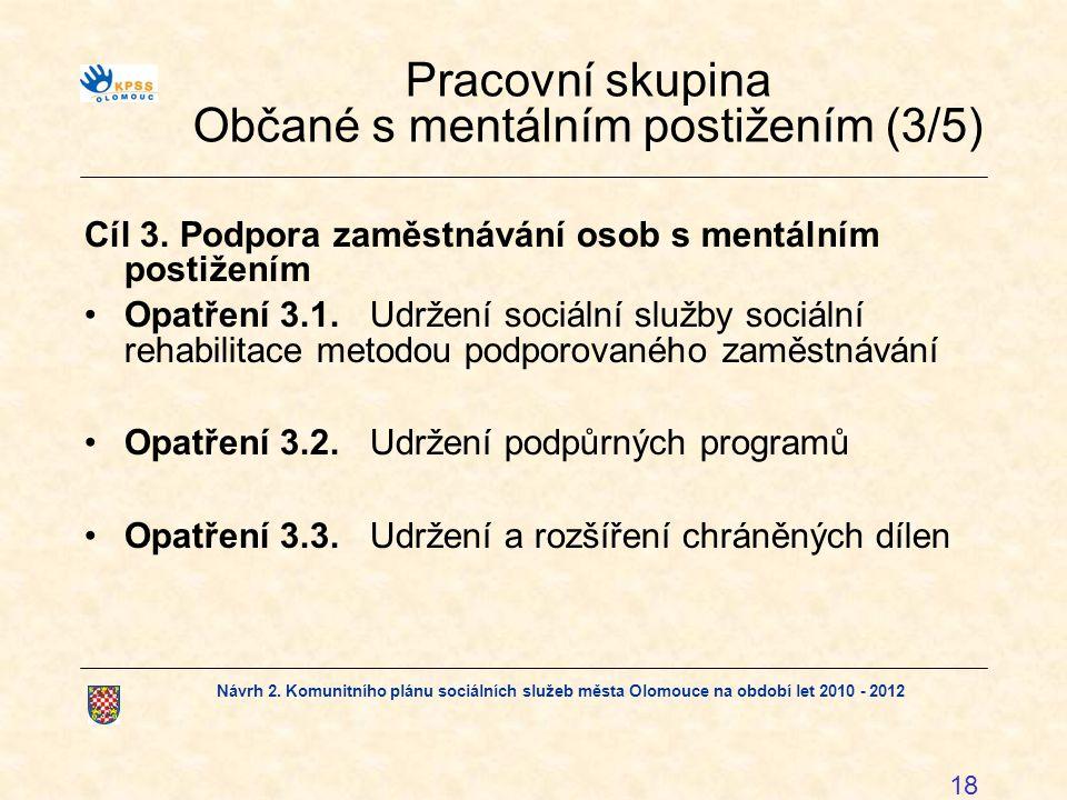 Návrh 2. Komunitního plánu sociálních služeb města Olomouce na období let 2010 - 2012 18 Pracovní skupina Občané s mentálním postižením (3/5) Cíl 3.Po