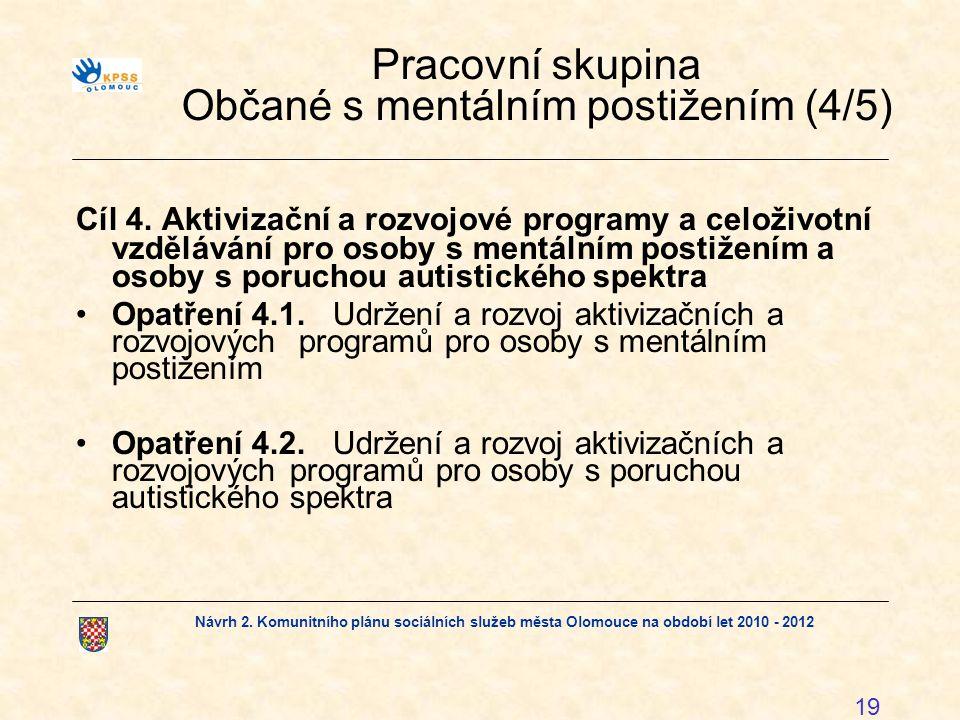 Návrh 2. Komunitního plánu sociálních služeb města Olomouce na období let 2010 - 2012 19 Pracovní skupina Občané s mentálním postižením (4/5) Cíl 4. A