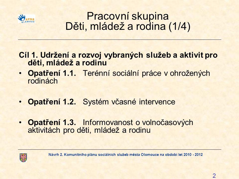 Návrh 2. Komunitního plánu sociálních služeb města Olomouce na období let 2010 - 2012 2 Pracovní skupina Děti, mládež a rodina (1/4) Cíl 1.Udržení a r