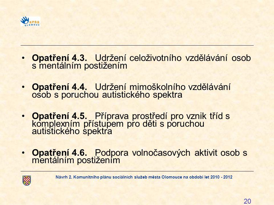 Návrh 2. Komunitního plánu sociálních služeb města Olomouce na období let 2010 - 2012 20 Opatření 4.3.Udržení celoživotního vzdělávání osob s mentální