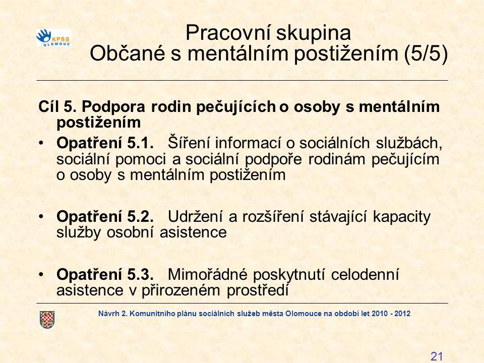 Návrh 2. Komunitního plánu sociálních služeb města Olomouce na období let 2010 - 2012 21 Pracovní skupina Občané s mentálním postižením (5/5) Cíl 5. P