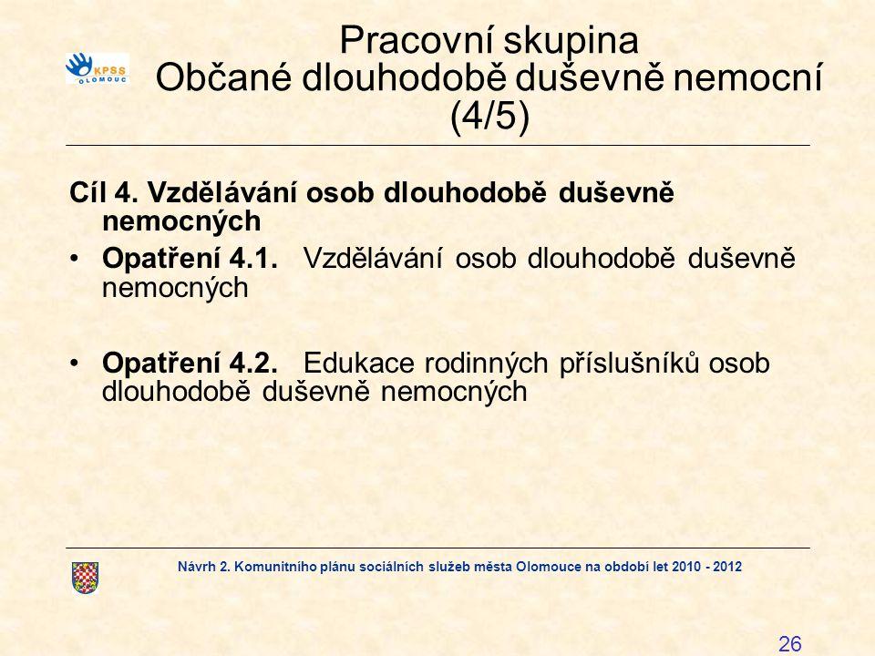 Návrh 2. Komunitního plánu sociálních služeb města Olomouce na období let 2010 - 2012 26 Pracovní skupina Občané dlouhodobě duševně nemocní (4/5) Cíl