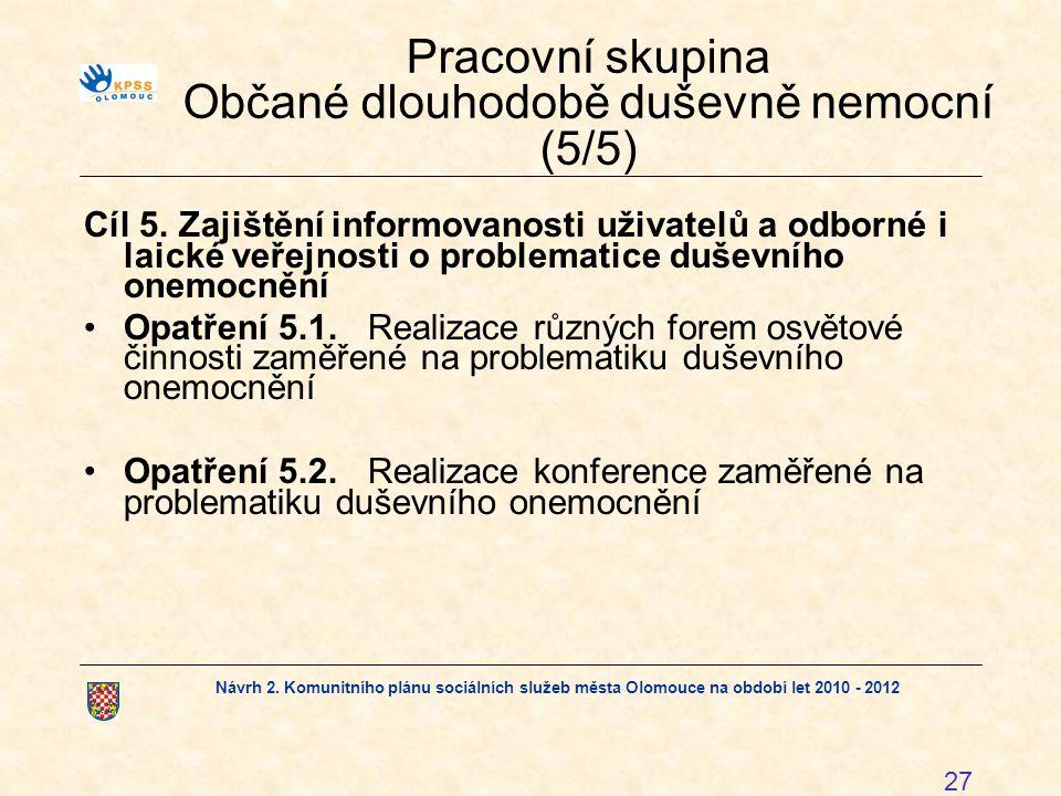 Návrh 2. Komunitního plánu sociálních služeb města Olomouce na období let 2010 - 2012 27 Pracovní skupina Občané dlouhodobě duševně nemocní (5/5) Cíl