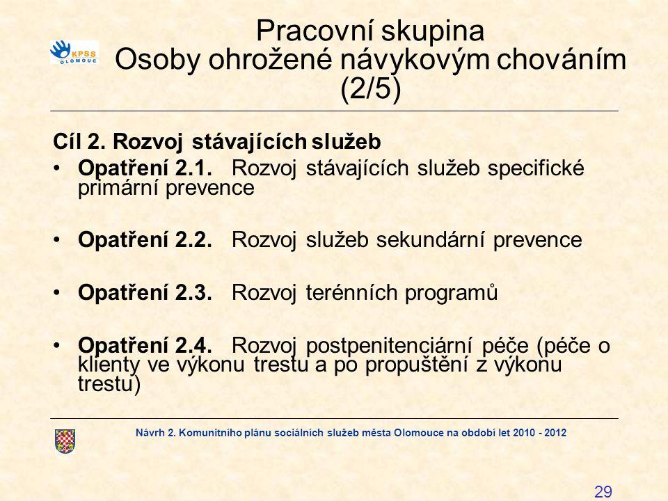 Návrh 2. Komunitního plánu sociálních služeb města Olomouce na období let 2010 - 2012 29 Pracovní skupina Osoby ohrožené návykovým chováním (2/5) Cíl