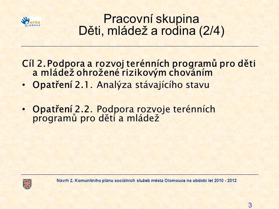 Návrh 2. Komunitního plánu sociálních služeb města Olomouce na období let 2010 - 2012 3 Pracovní skupina Děti, mládež a rodina (2/4) Cíl 2.Podpora a r