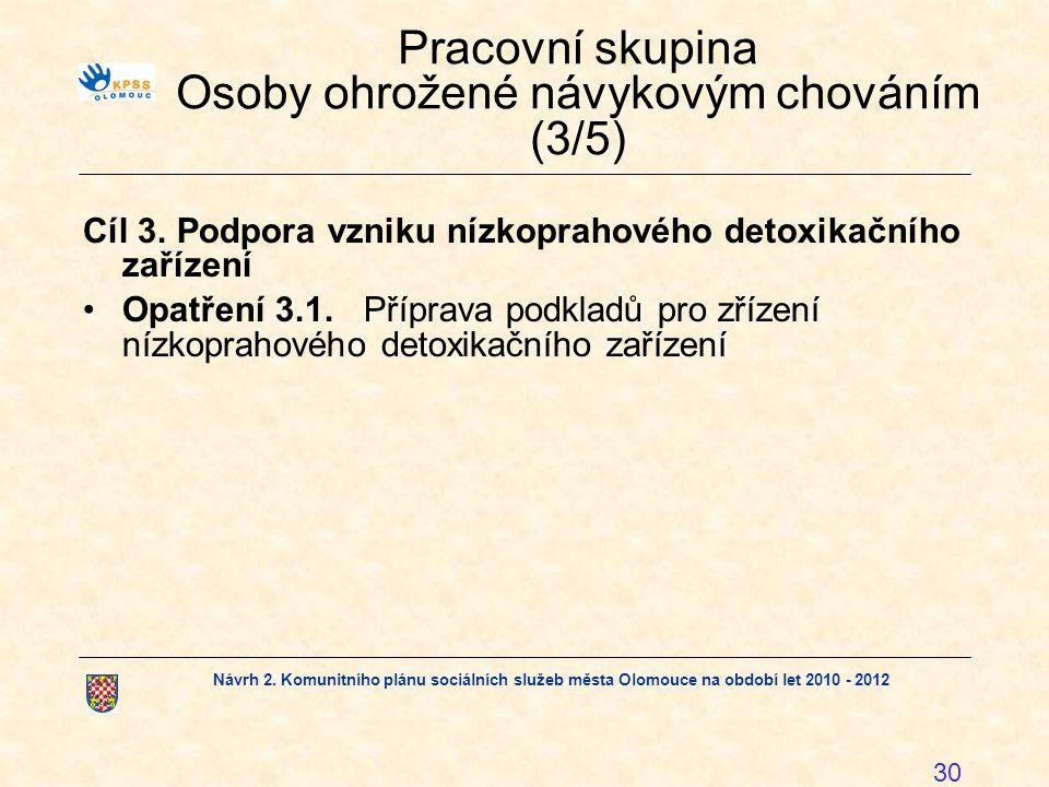 Návrh 2. Komunitního plánu sociálních služeb města Olomouce na období let 2010 - 2012 30 Pracovní skupina Osoby ohrožené návykovým chováním (3/5) Cíl
