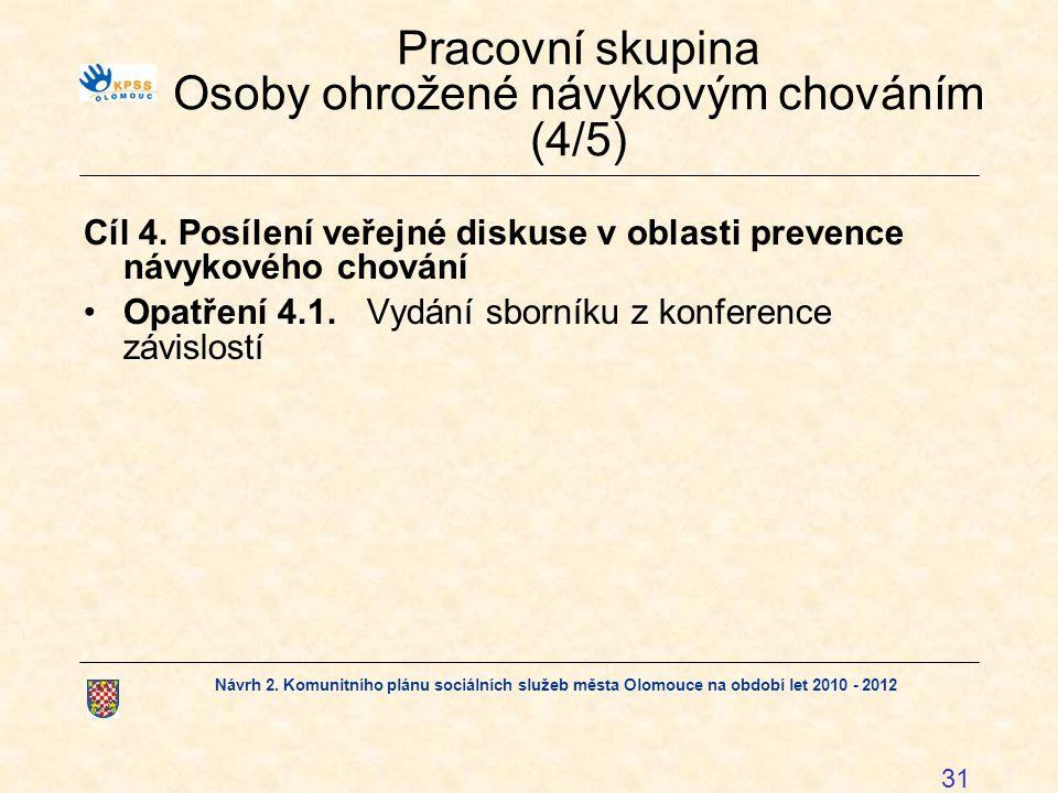 Návrh 2. Komunitního plánu sociálních služeb města Olomouce na období let 2010 - 2012 31 Pracovní skupina Osoby ohrožené návykovým chováním (4/5) Cíl