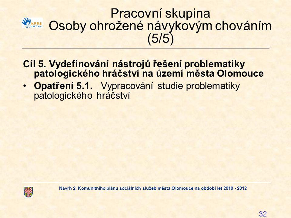 Návrh 2. Komunitního plánu sociálních služeb města Olomouce na období let 2010 - 2012 32 Pracovní skupina Osoby ohrožené návykovým chováním (5/5) Cíl