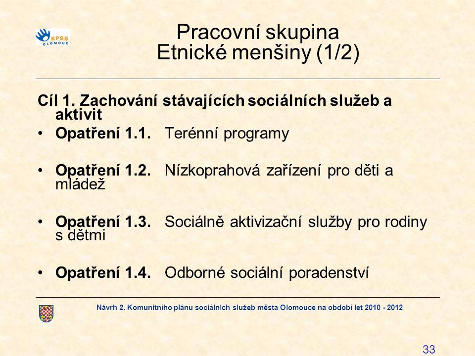Návrh 2. Komunitního plánu sociálních služeb města Olomouce na období let 2010 - 2012 33 Pracovní skupina Etnické menšiny (1/2) Cíl 1. Zachování stáva