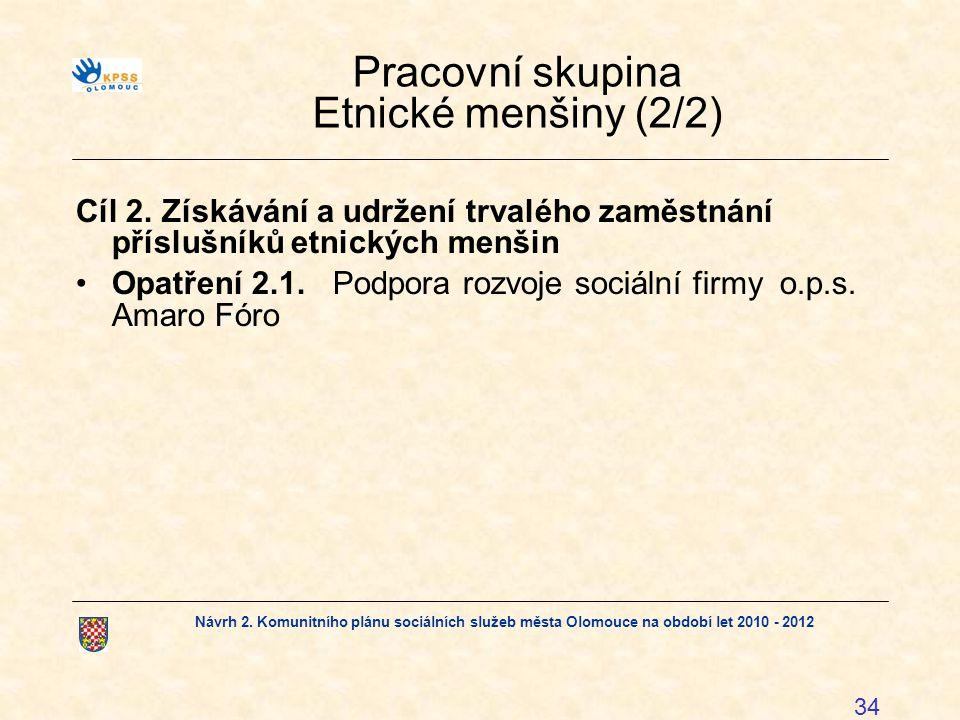 Návrh 2. Komunitního plánu sociálních služeb města Olomouce na období let 2010 - 2012 34 Pracovní skupina Etnické menšiny (2/2) Cíl 2.Získávání a udrž
