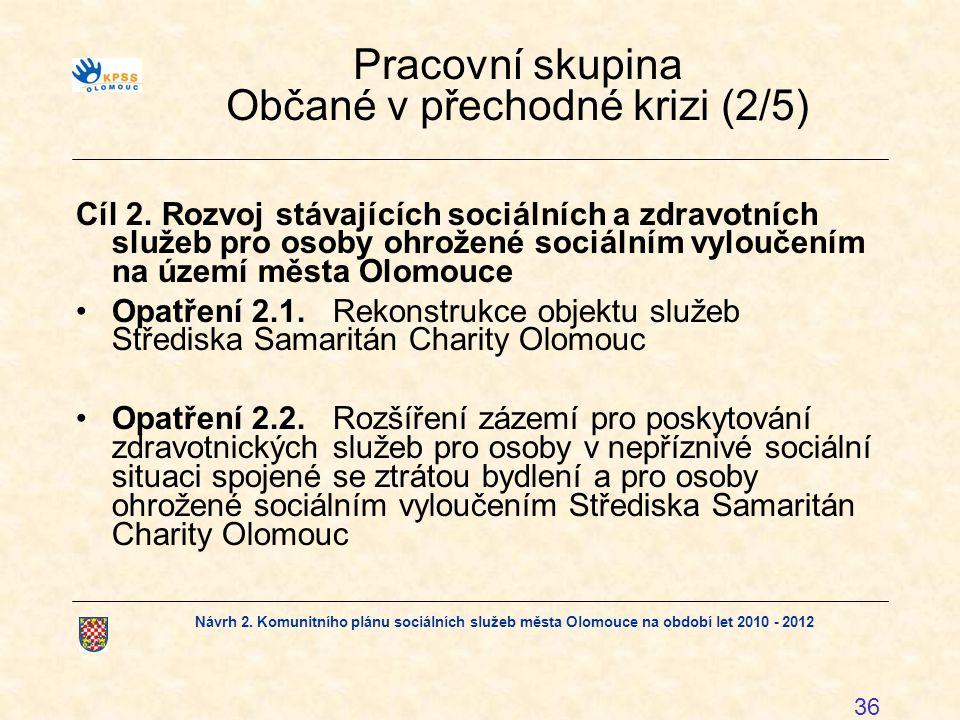 Návrh 2. Komunitního plánu sociálních služeb města Olomouce na období let 2010 - 2012 36 Pracovní skupina Občané v přechodné krizi (2/5) Cíl 2.Rozvoj