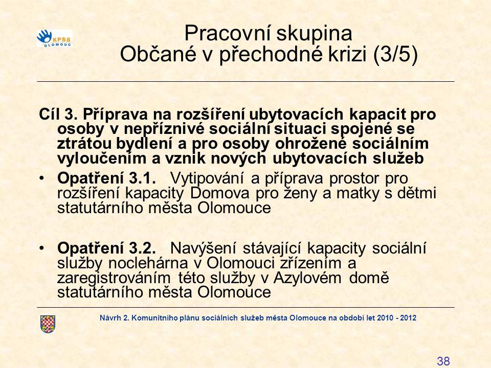 Návrh 2. Komunitního plánu sociálních služeb města Olomouce na období let 2010 - 2012 38 Pracovní skupina Občané v přechodné krizi (3/5) Cíl 3. Přípra
