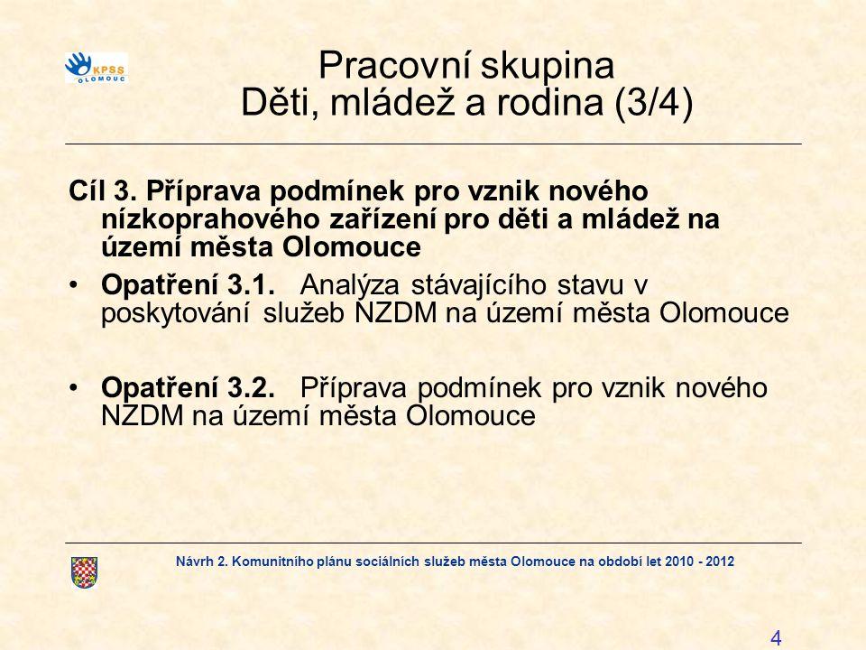 Návrh 2. Komunitního plánu sociálních služeb města Olomouce na období let 2010 - 2012 4 Pracovní skupina Děti, mládež a rodina (3/4) Cíl 3.Příprava po
