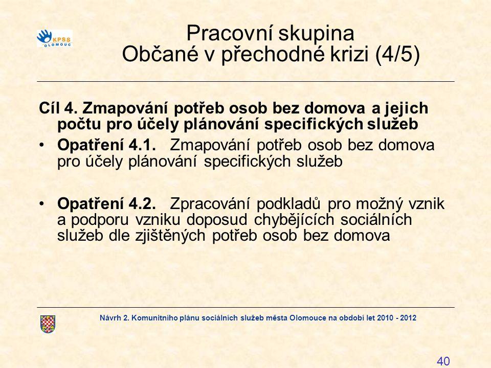 Návrh 2. Komunitního plánu sociálních služeb města Olomouce na období let 2010 - 2012 40 Pracovní skupina Občané v přechodné krizi (4/5) Cíl 4. Zmapov