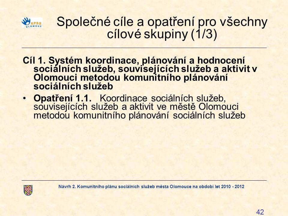 Návrh 2. Komunitního plánu sociálních služeb města Olomouce na období let 2010 - 2012 42 Společné cíle a opatření pro všechny cílové skupiny (1/3) Cíl