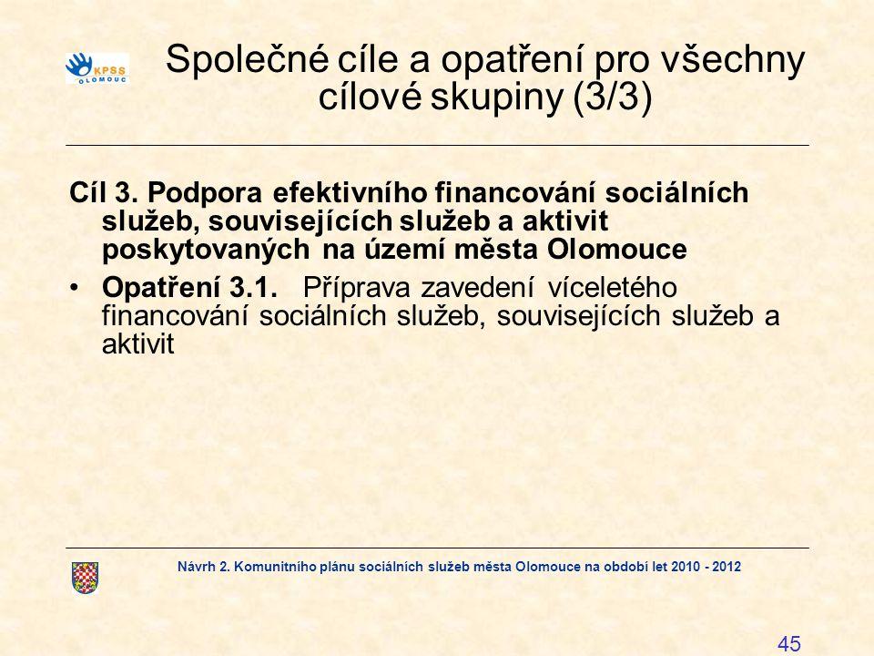 Návrh 2. Komunitního plánu sociálních služeb města Olomouce na období let 2010 - 2012 45 Společné cíle a opatření pro všechny cílové skupiny (3/3) Cíl