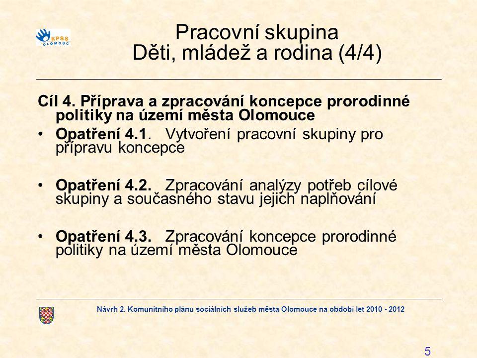 Návrh 2. Komunitního plánu sociálních služeb města Olomouce na období let 2010 - 2012 5 Pracovní skupina Děti, mládež a rodina (4/4) Cíl 4. Příprava a