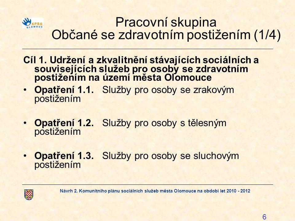 Návrh 2. Komunitního plánu sociálních služeb města Olomouce na období let 2010 - 2012 6 Pracovní skupina Občané se zdravotním postižením (1/4) Cíl 1.