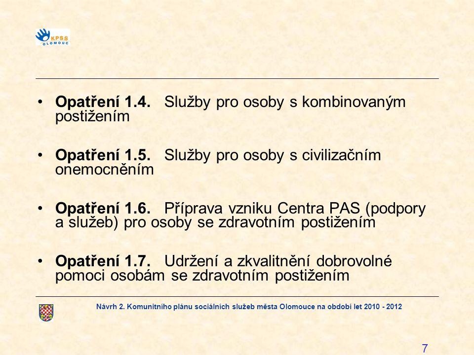 Návrh 2. Komunitního plánu sociálních služeb města Olomouce na období let 2010 - 2012 7 Opatření 1.4.Služby pro osoby s kombinovaným postižením Opatře