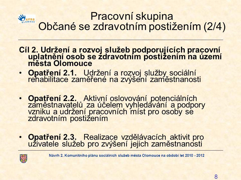 Návrh 2. Komunitního plánu sociálních služeb města Olomouce na období let 2010 - 2012 8 Pracovní skupina Občané se zdravotním postižením (2/4) Cíl 2.U
