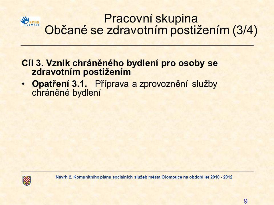 Návrh 2. Komunitního plánu sociálních služeb města Olomouce na období let 2010 - 2012 9 Pracovní skupina Občané se zdravotním postižením (3/4) Cíl 3.