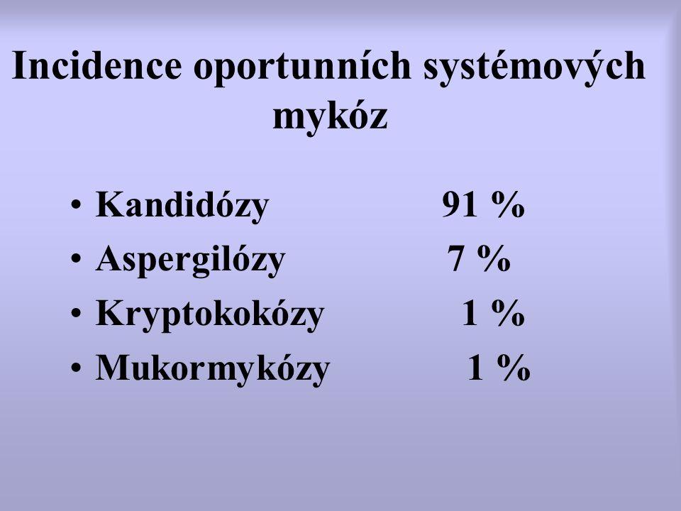Incidence oportunních systémových mykóz Kandidózy 91 % Aspergilózy 7 % Kryptokokózy 1 % Mukormykózy 1 %