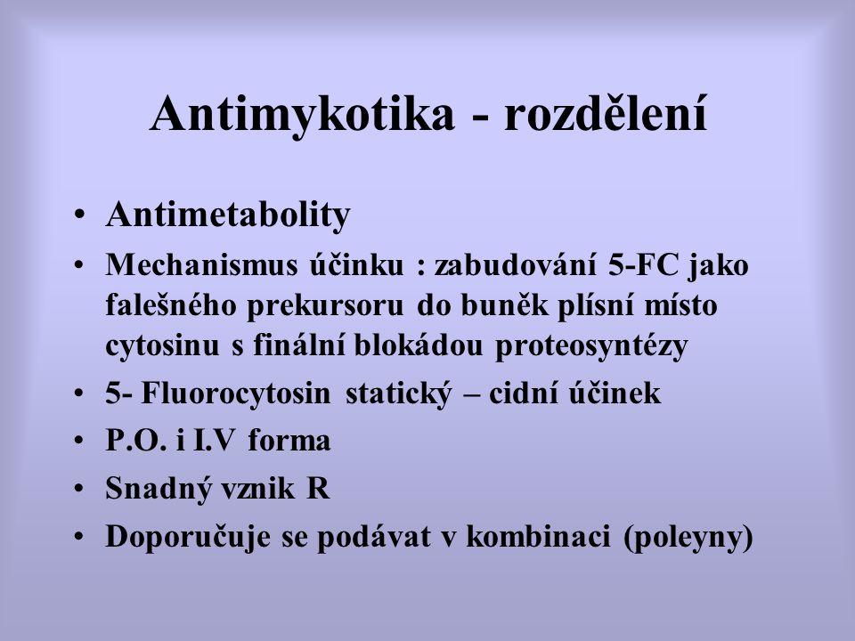 Antimykotika - rozdělení Antimetabolity Mechanismus účinku : zabudování 5-FC jako falešného prekursoru do buněk plísní místo cytosinu s finální blokád