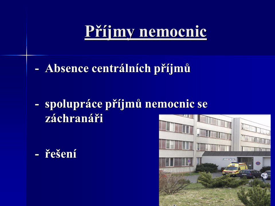 Příjmy nemocnic - Absence centrálních příjmů - spolupráce příjmů nemocnic se záchranáři - řešení