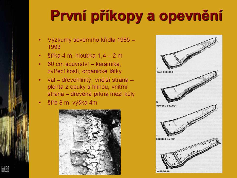 První příkopy a opevnění Výzkumy severního křídla 1985 – 1993 šířka 4 m, hloubka 1,4 – 2 m 60 cm souvrství – keramika, zvířecí kosti, organické látky