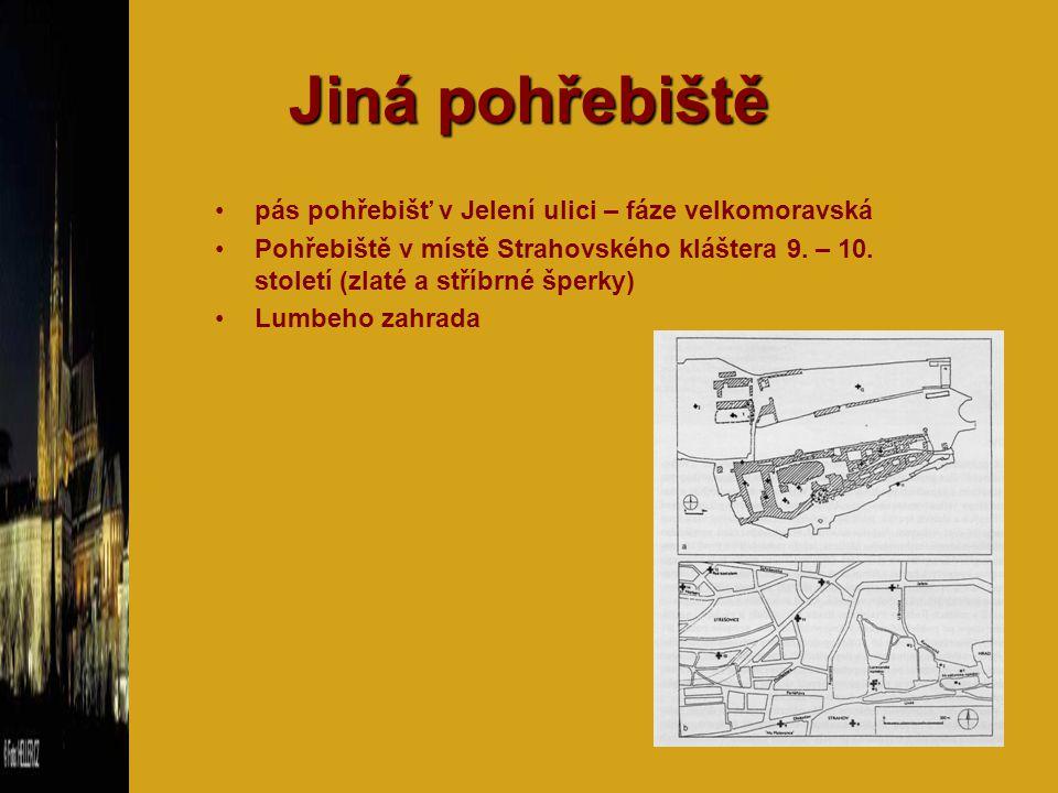 Jiná pohřebiště pás pohřebišť v Jelení ulici – fáze velkomoravská Pohřebiště v místě Strahovského kláštera 9. – 10. století (zlaté a stříbrné šperky)