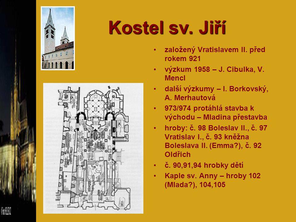 Kostel sv. Jiří založený Vratislavem II. před rokem 921 výzkum 1958 – J. Cibulka, V. Mencl další výzkumy – I. Borkovský, A. Merhautová 973/974 protáhl