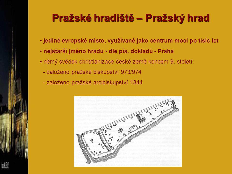 Pražské hradiště – Pražský hrad jediné evropské místo, využívané jako centrum moci po tisíc let nejstarší jméno hradu - dle pís. dokladů - Praha němý