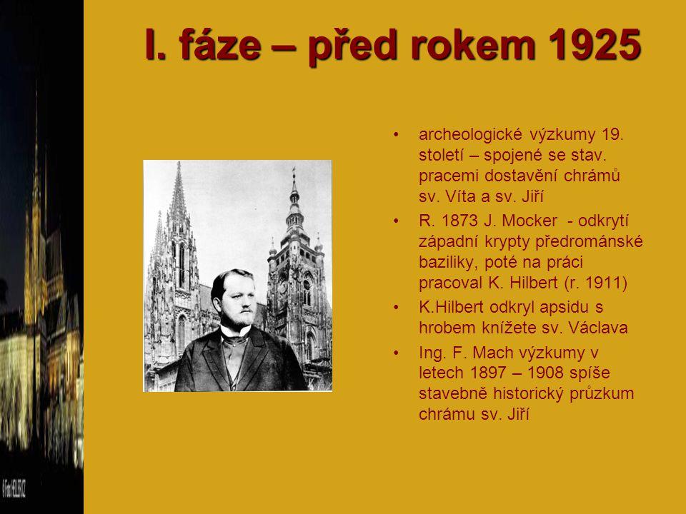 I. fáze – před rokem 1925 archeologické výzkumy 19. století – spojené se stav. pracemi dostavění chrámů sv. Víta a sv. Jiří R. 1873 J. Mocker - odkryt