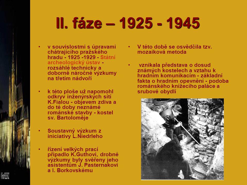 II. fáze – 1925 - 1945 v souvislostmi s úpravami chátrajícího pražského hradu - 1925 -1929 - Státní archeologický ústav - rozsáhlé technicky a doborně