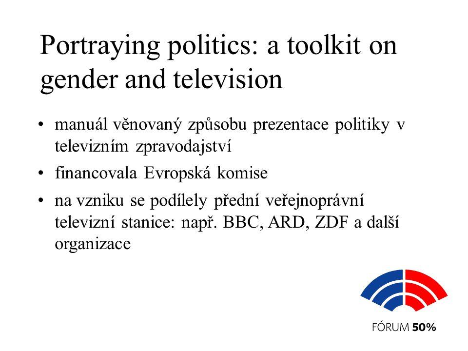 Portraying politics: a toolkit on gender and television manuál věnovaný způsobu prezentace politiky v televizním zpravodajství financovala Evropská komise na vzniku se podílely přední veřejnoprávní televizní stanice: např.