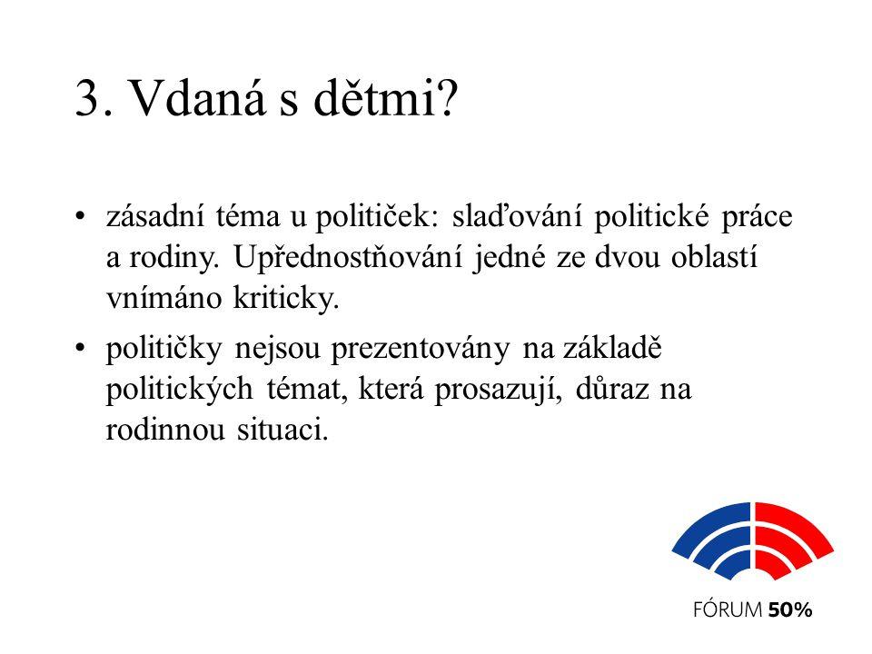 3. Vdaná s dětmi. zásadní téma u političek: slaďování politické práce a rodiny.